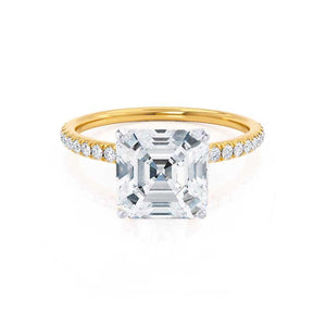 MACY -  Asscher Moissanite & Diamond 18k Two Tone Yellow Gold Petite Pavé Shoulder Set Ring Engagement Ring Lily Arkwright
