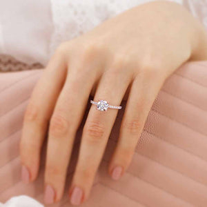 MACY -  Cushion Moissanite & Diamond 18k Rose Gold Petite Pavé Ring Engagement Ring Lily Arkwright