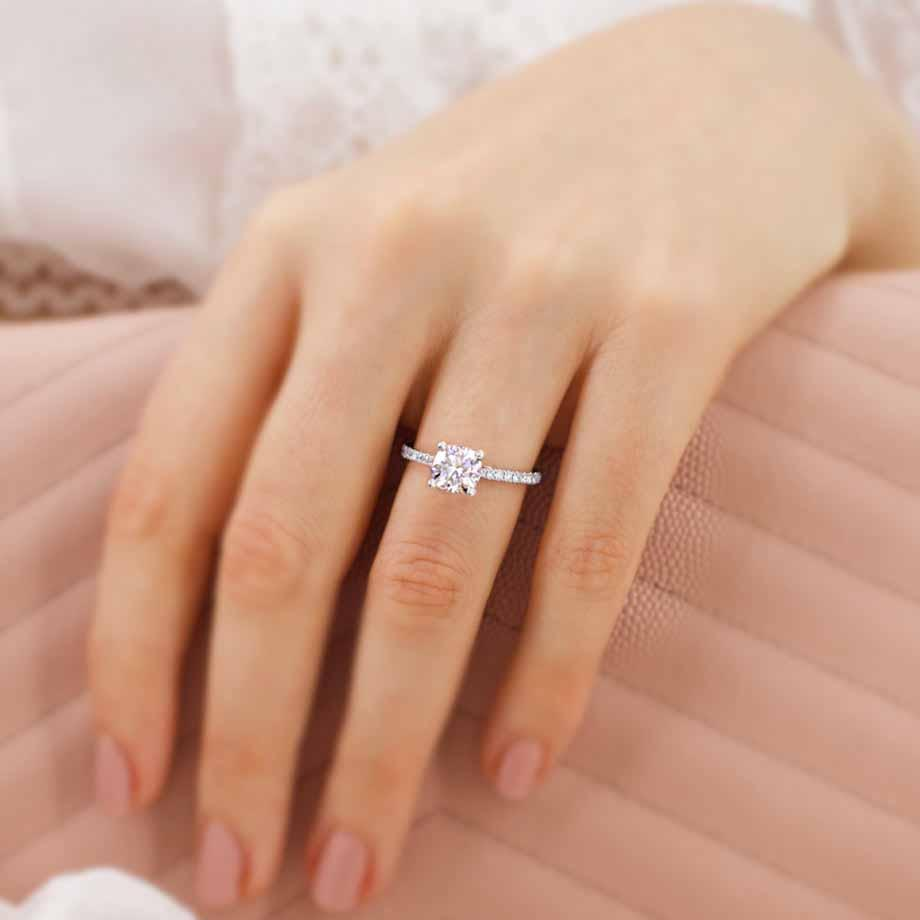 MACY -  Cushion Moissanite & Diamond 18k White Gold Petite Pavé Shoulder Set Ring Engagement Ring Lily Arkwright