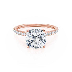 MACY -  Cushion Moissanite & Diamond 18k Rose Gold Petite Pavé Shoulder Set Ring Engagement Ring Lily Arkwright