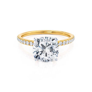 MACY -  Cushion Moissanite & Diamond 18k Two Tone Yellow Gold Petite Pavé Shoulder Set Ring Engagement Ring Lily Arkwright