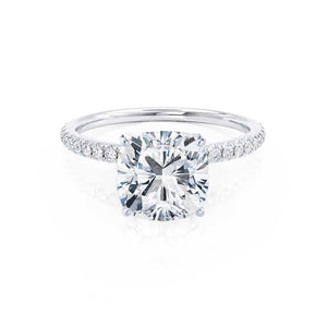 MACY -  Cushion Moissanite & Diamond 950 Platinum Petite Pavé Shoulder Set Ring Engagement Ring Lily Arkwright