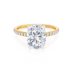 MACY -  Elongated Cushion Moissanite & Diamond 18k Two Tone Yellow Gold Petite Pavé Shoulder Set Ring Engagement Ring Lily Arkwright
