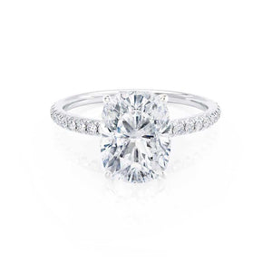 MACY -  Elongated Cushion Moissanite & Diamond 950 Platinum Petite Pavé Shoulder Set Ring Engagement Ring Lily Arkwright