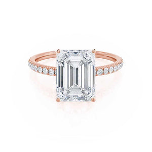 MACY - Emerald Moissanite & Diamond 18k Rose Gold Petite Pavé Shoulder Set Ring Engagement Ring Lily Arkwright