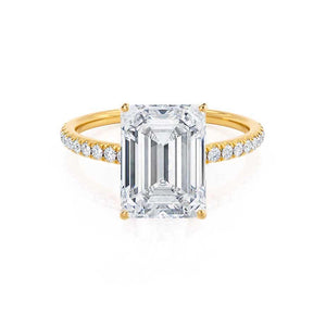MACY - Emerald Moissanite & Diamond 18k Yellow Gold Petite Pavé Shoulder Set Ring Engagement Ring Lily Arkwright