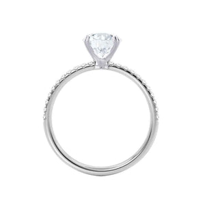 MACY - Round Moissanite & Diamond 18k White Gold Petite Pavé Shoulder Set Ring Engagement Ring Lily Arkwright