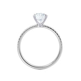 MACY - Cushion Forever One Moissanite & Diamond 18k White Gold Petite Pavé Shoulder Set Ring