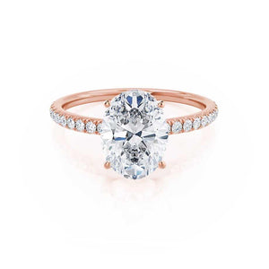 MACY - Oval Moissanite & Diamond 18k Rose Gold Petite Pavé Shoulder Set Ring Engagement Ring Lily Arkwright