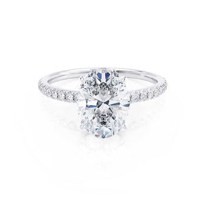 MACY - Oval Moissanite & Diamond 18k White Gold Petite Pavé Shoulder Set Ring Engagement Ring Lily Arkwright