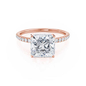 MACY - Princess Moissanite & Diamond 18k Rose Gold Petite Pavé Shoulder Set Ring Engagement Ring Lily Arkwright