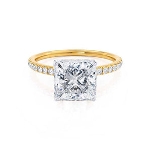 MACY - Princess Moissanite & Diamond 18k Two Tone Yellow Gold Petite Pavé Shoulder Set Ring Engagement Ring Lily Arkwright