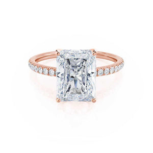 MACY - Radiant Moissanite & Diamond 18k Rose Gold Petite Pavé Shoulder Set Ring