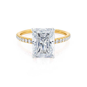 MACY - Radiant Moissanite & Diamond 18k Two Tone Yellow Gold Petite Pavé Shoulder Set Ring Engagement Ring Lily Arkwright