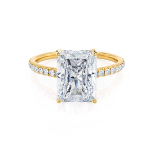 MACY - Radiant Moissanite & Diamond 18k Yellow Gold Petite Pavé Shoulder Set Ring Engagement Ring Lily Arkwright