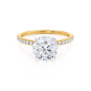 MACY - Round Moissanite & Diamond 18k Two Tone Gold Petite Pavé Shoulder Set Ring Engagement Ring Lily Arkwright