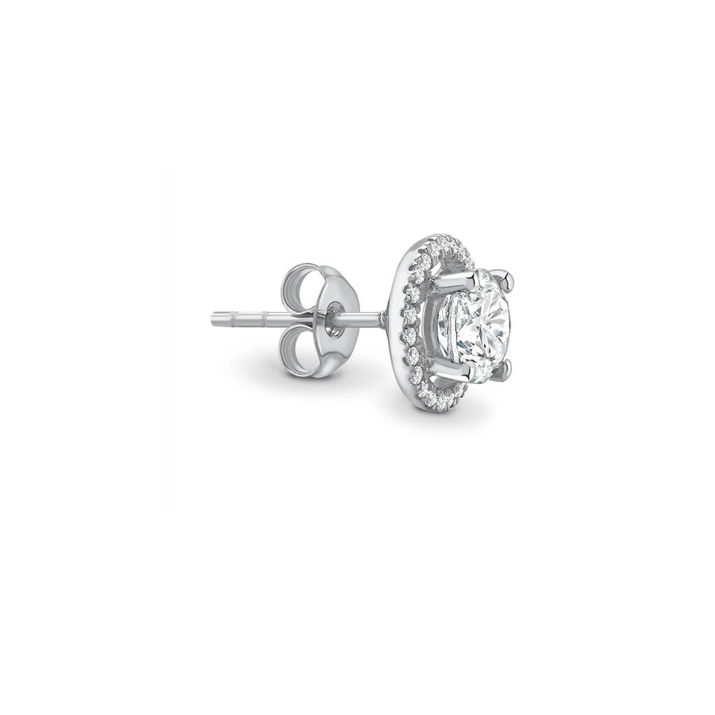 VOGUE - Moissanite & Diamond Platinum Gold Halo Earrings