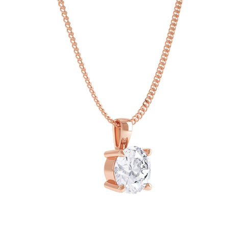 18K rose gold solitaire pendant