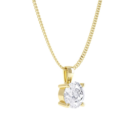 Yellow gold moissanite solitaire pendant necklace