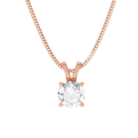 Clarabella 18K Rose Gold Split Neck Solitaire Pendant