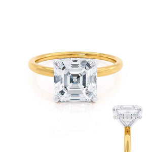 PARIS - Asscher Moissanite & Diamond 18k Two Tone Gold Hidden Halo Engagement Ring Lily Arkwright