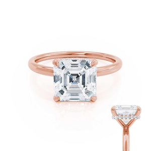 PARIS - Asscher Moissanite & Diamond 18k Rose Gold Hidden Halo Engagement Ring Lily Arkwright
