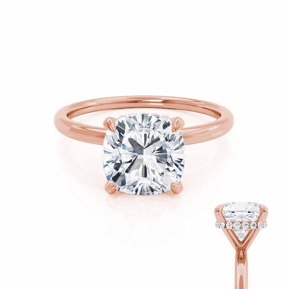 PARIS - Cushion Moissanite & Diamond 18k Rose Gold Hidden Halo Engagement Ring Lily Arkwright