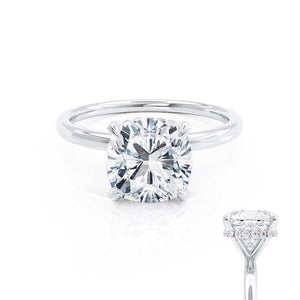 PARIS - Cushion Moissanite & Diamond Platinum Hidden Halo Engagement Ring Lily Arkwright