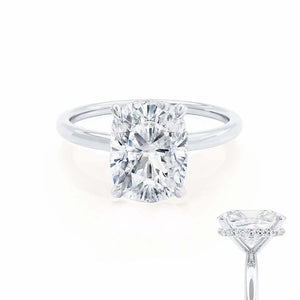 PARIS - Elongated Cushion Moissanite & Diamond 18k White Gold Hidden Halo Engagement Ring Lily Arkwright