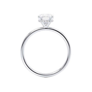 PARIS - Elongated Cushion Cut Moissanite & Diamond 18k White Gold Hidden Halo