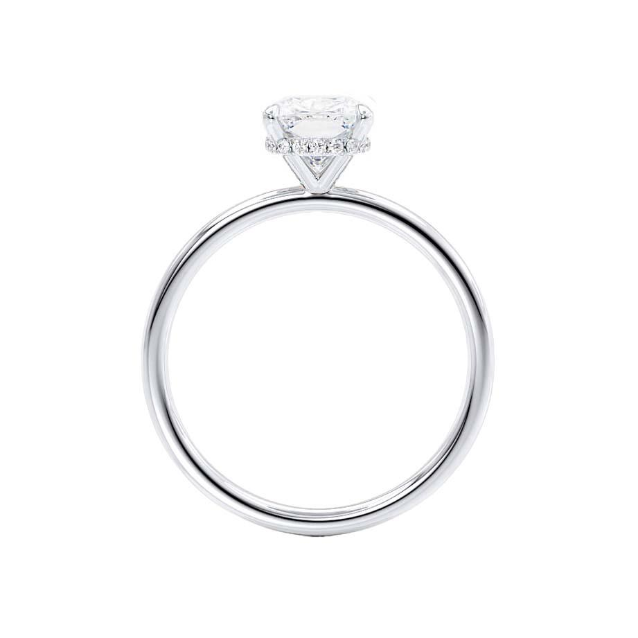 PARIS - Elongated Cushion Cut Moissanite & Diamond 950 Platinum Hidden Halo