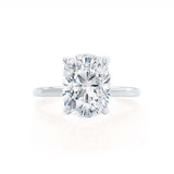 PARIS - Elongated Cushion Moissanite & Diamond Platinum Hidden Halo Engagement Ring Lily Arkwright
