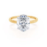 PARIS - Oval Cut Forever One Moissanite & Diamond 18k Yellow and White Gold Hidden Halo