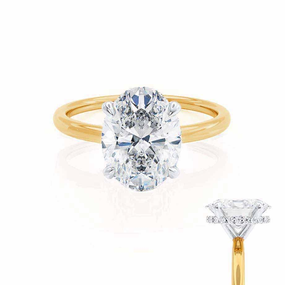 PARIS - Oval Moissanite & Diamond 18k Two Tone Gold Hidden Halo Engagement Ring Lily Arkwright