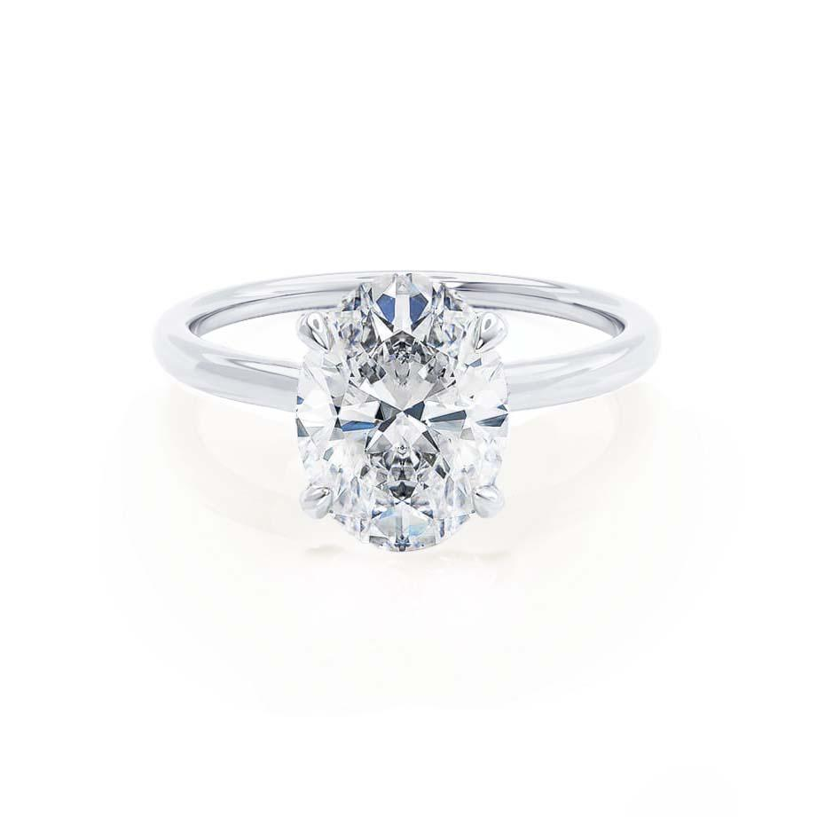 PARIS - Oval Cut Forever One Moissanite & Diamond 950 Platinum Hidden Halo