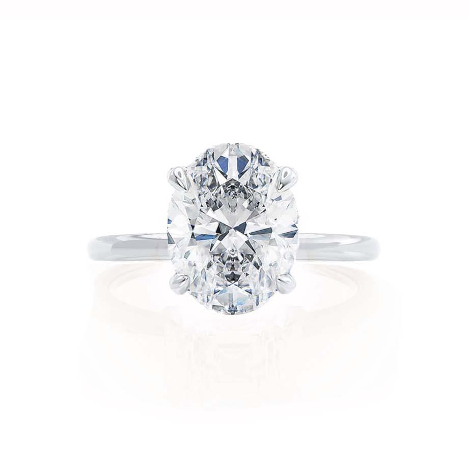 PARIS - Oval Moissanite & Diamond Platinum Gold Hidden Halo Engagement Ring Lily Arkwright