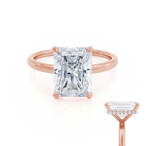 PARIS - Radiant Moissanite & Diamond 18k Rose Gold Hidden Halo Engagement Ring Lily Arkwright