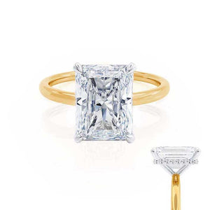 PARIS - Radiant Moissanite & Diamond Two Tone 18k Gold Hidden Halo Engagement Ring Lily Arkwright