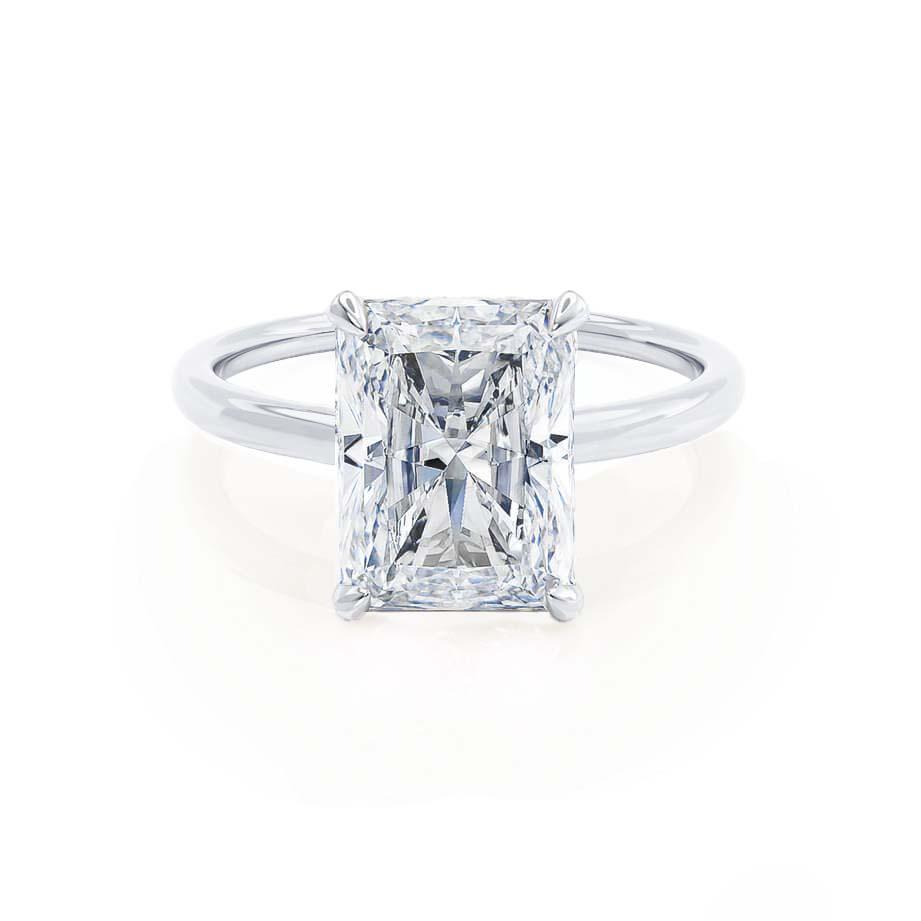 PARIS - Radiant Cut Forever One Moissanite & Diamond 18k White Gold Hidden Halo