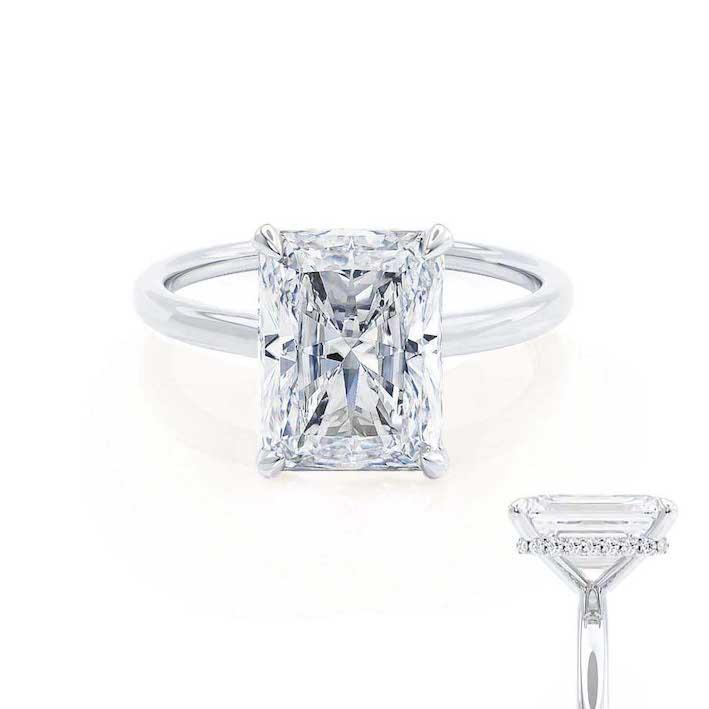 PARIS - Radiant Moissanite & Diamond 18k White Gold Hidden Halo Engagement Ring Lily Arkwright
