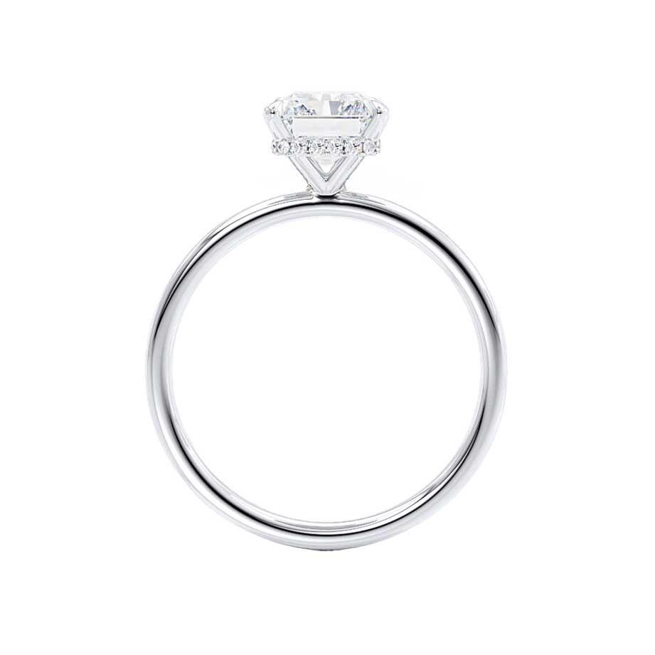 PARIS - Radiant Cut Moissanite & Diamond 18k White Gold Hidden Halo