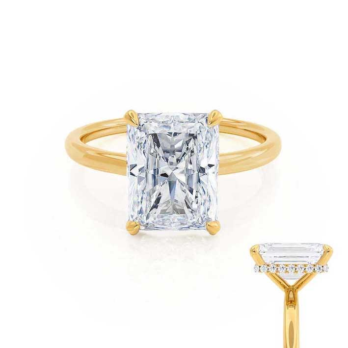 PARIS - Radiant Moissanite & Diamond 18k Yellow Gold Hidden Halo Engagement Ring Lily Arkwright