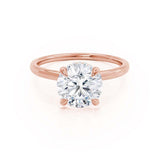 PARIS - Round Moissanite & Diamond 18k Rose Gold Hidden Halo Engagement Ring Lily Arkwright