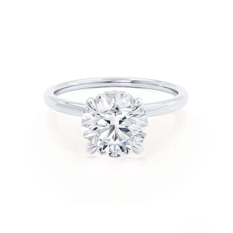 PARIS - Round Moissanite & Diamond 18k White Gold Hidden Halo Engagement Ring Lily Arkwright