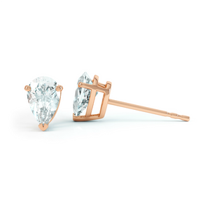 SCARLETT - Pear Moissanite 18k Rose Gold Stud Earrings Earrings Lily Arkwright