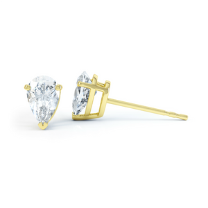 SCARLETT - Pear Moissanite 18k Yellow Gold Stud Earrings Earrings Lily Arkwright