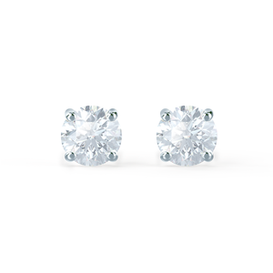 SENA - Round Moissanite 18k White Gold Stud Earrings Earrings Lily Arkwright