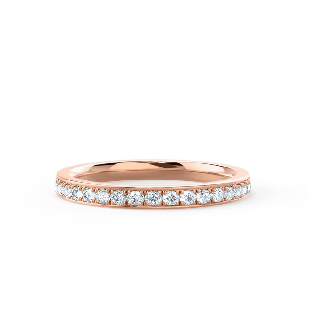 HARPER - Round Moissanite 18k Rose Gold Channel Set Eternity Band Eternity Lily Arkwright