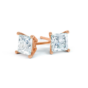 VALENTIA - Princess Moissanite 18k Rose Gold Stud Earrings Earrings Lily Arkwright