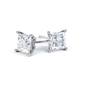 VALENTIA - Princess Moissanite 18k White Gold Stud Earrings Earrings Lily Arkwright